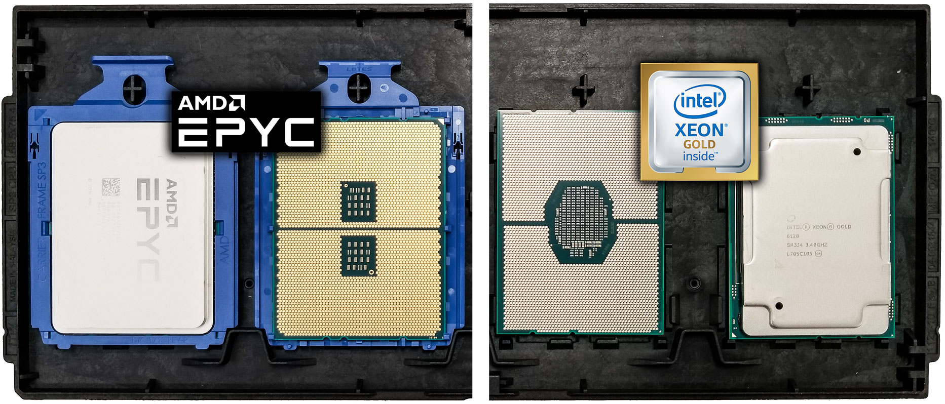 AMD EPYC and Intel Xeon SP - front and back